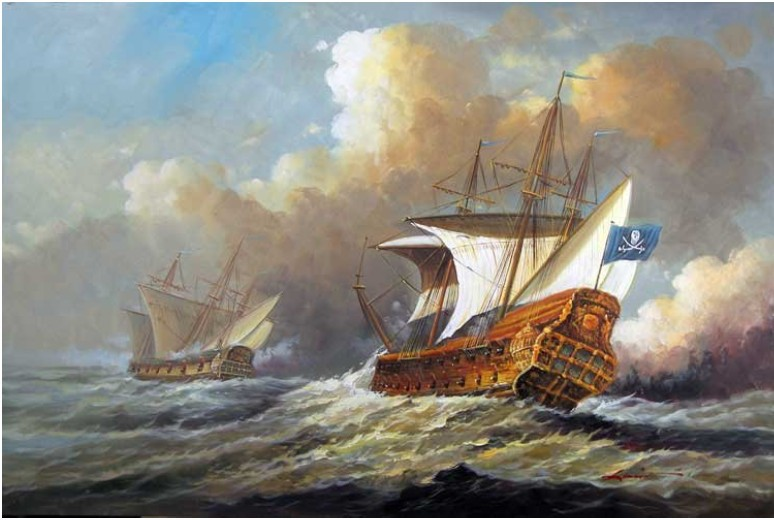 Pirate Ship Battle Paintings Pirate Ship Attack Sea Battle
