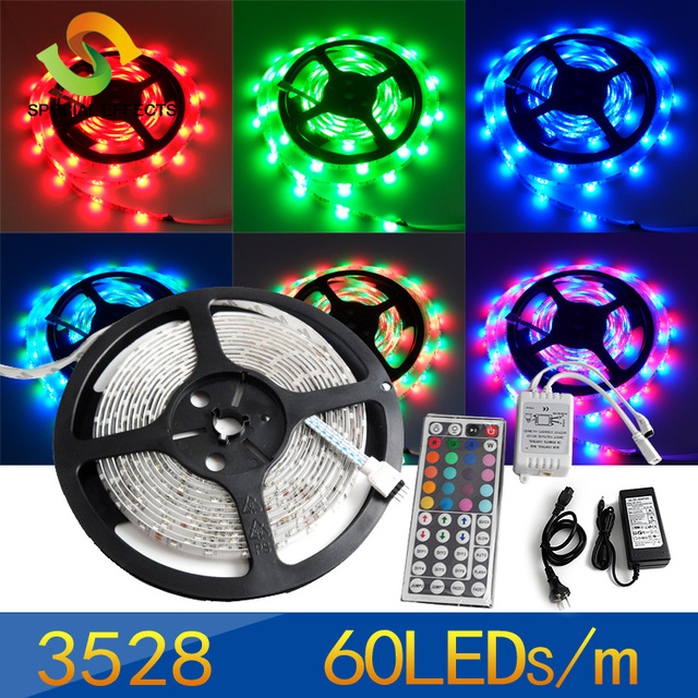 5M 60leds/M rgb 3528 SMD LED Strip Light 300 Leds 12V Waterproof + 44 key IR Control+12V/2.5A Power Supply,free shipping