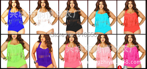 2015 PLUS SIZE Big Beautiful Womens Retro Fringe Tassel Top High Waisted Bikini Rockabilly Swimwear Swimsuit MOS SET - L&D store