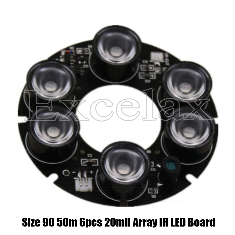 DIY 6pcs 20mil Array LED IR 20-50 Meters PCB Board Size 90 Infrared Night Vision 850nm for 90 CCTV Array IR Bullet Camera Casing(China (Mainland))