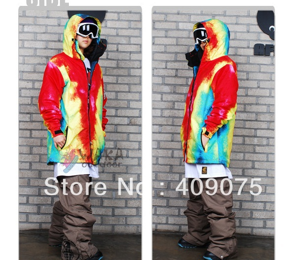 Lover's/Couple's Fashion+Flame Red Design+S-L+Woman Snowboard Jacket for single/double panels+Double Layers+wind/waterproof(China (Mainland))