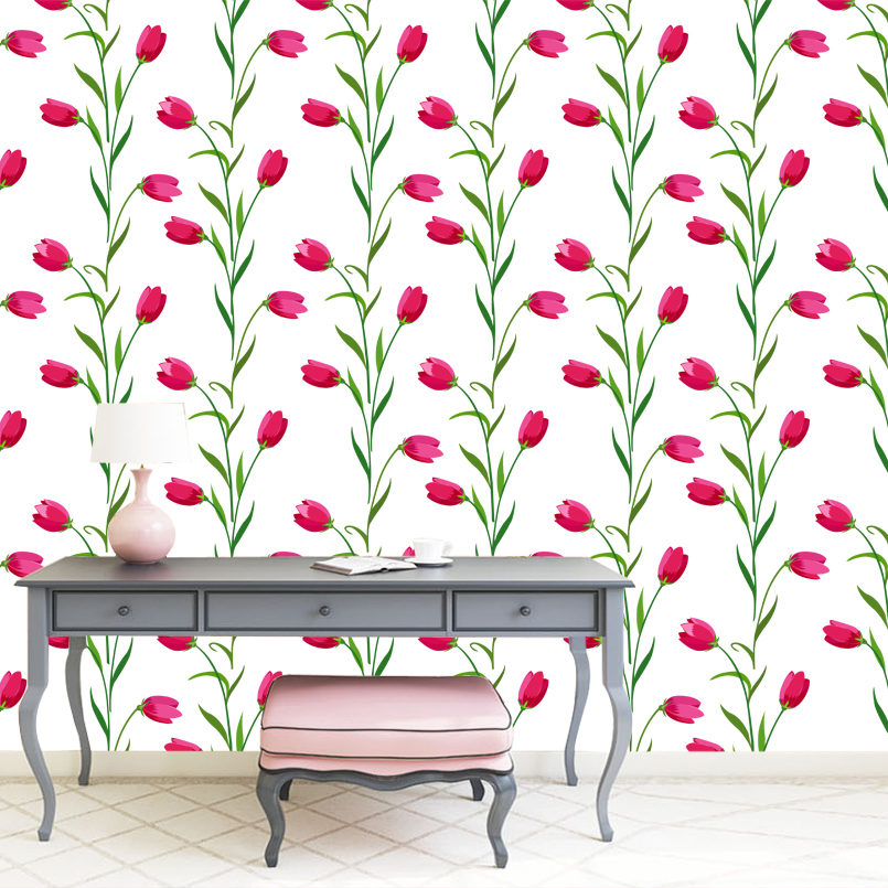 Elegant tulip mural art wallpaper for lady &girl bedroom living room wall decor home decor accessories discount free shipping(China (Mainland))