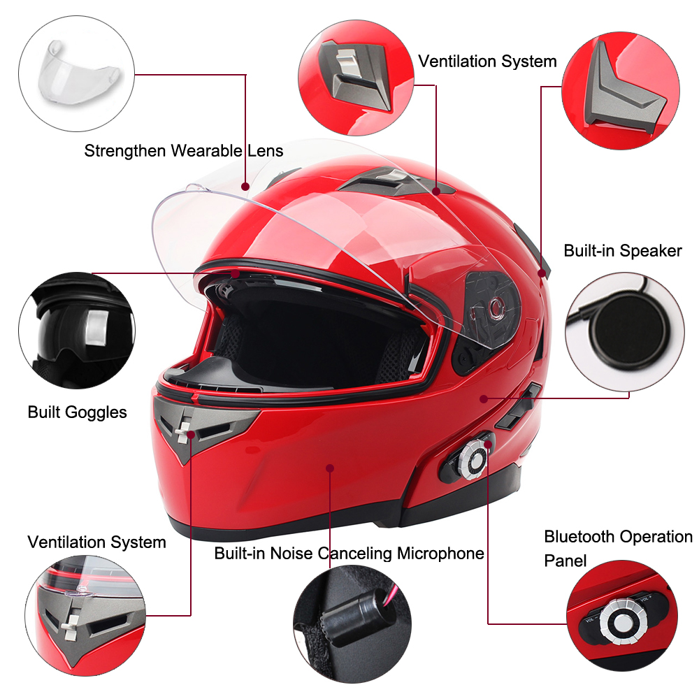 2017 FreedConn Smart Bluetooth Motorcycle Helmet Built in Intercom Device Support 2 riders Talking 500m and FM Dot Standard(China (Mainland))