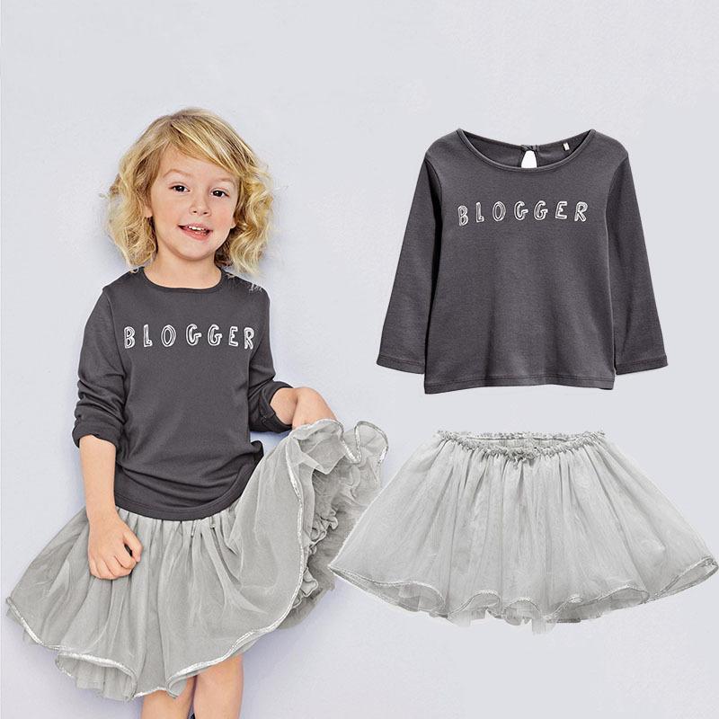 Girl Clothes 2016 New Spring Autumn BLOGGER Long Sleeve Baby T-shirt + Gray Princess Tutu Dress Kids Toddler Girl Dresses<br><br>Aliexpress