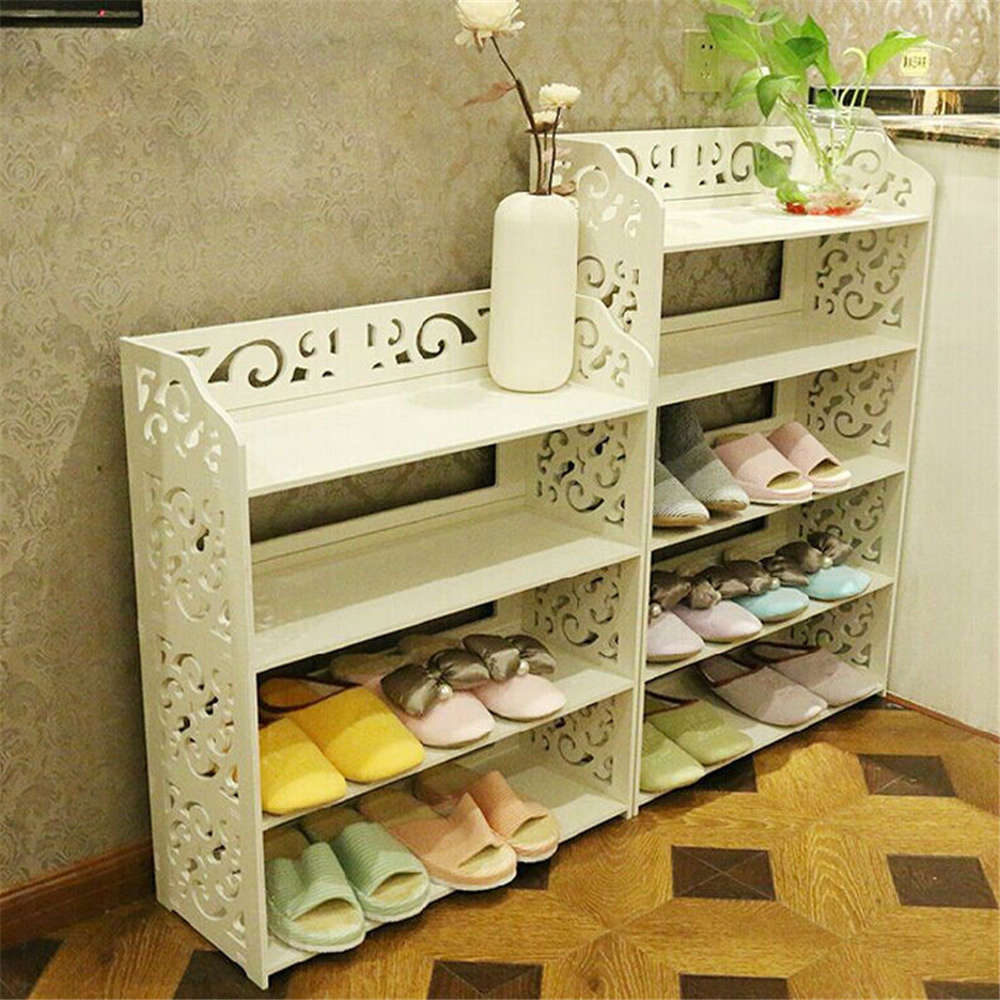 1Pcs White Wood Carving Shelf Storage Home Organizer 3/4/5 Tier Shoe Shoes Rack Holder(China (Mainland))