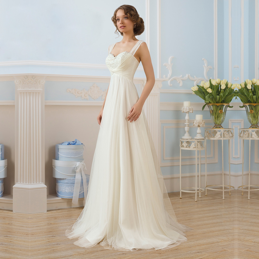 Charming soft tulle with chiffon a line wedding dresses for Chiffon tulle wedding dress