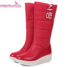 MEMUNIA TAMAÑO 35-44 Señoras de la nieve botas cuñas tacones resbalón de las mujeres de invierno botas de piel en el interior de la rodilla botas altas zapatos dulces(China (Mainland))
