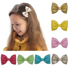 5″ Girls Sweet Soft Leather Solid Hair Bow For Baby Toddler Handmade Hairgrips High Quality Hair Accessories