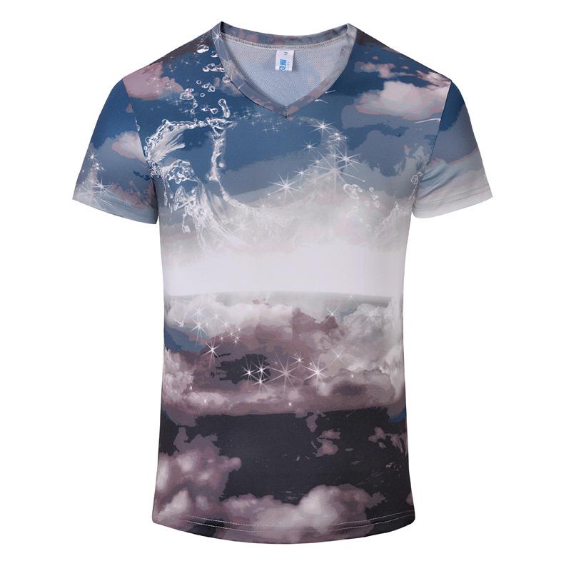 2016 hot classic short sleeve 13 colors V Collar short sleeve T-shirt printing 3D patterns of men's casual T-shirt S-3XL Tops(China (Mainland))