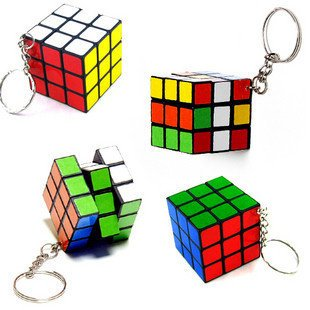 Wholesale 10 Pieces/Lot Mini Puzzle Magic Game Magic Square Keychain Key Ring(China (Mainland))