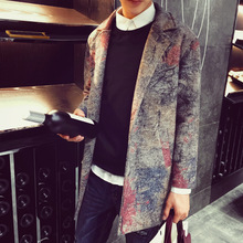 Spring Winter stylish style casual fitness TOP quality  cloth thick men trench England vintage style ptint man overcoat(China (Mainland))