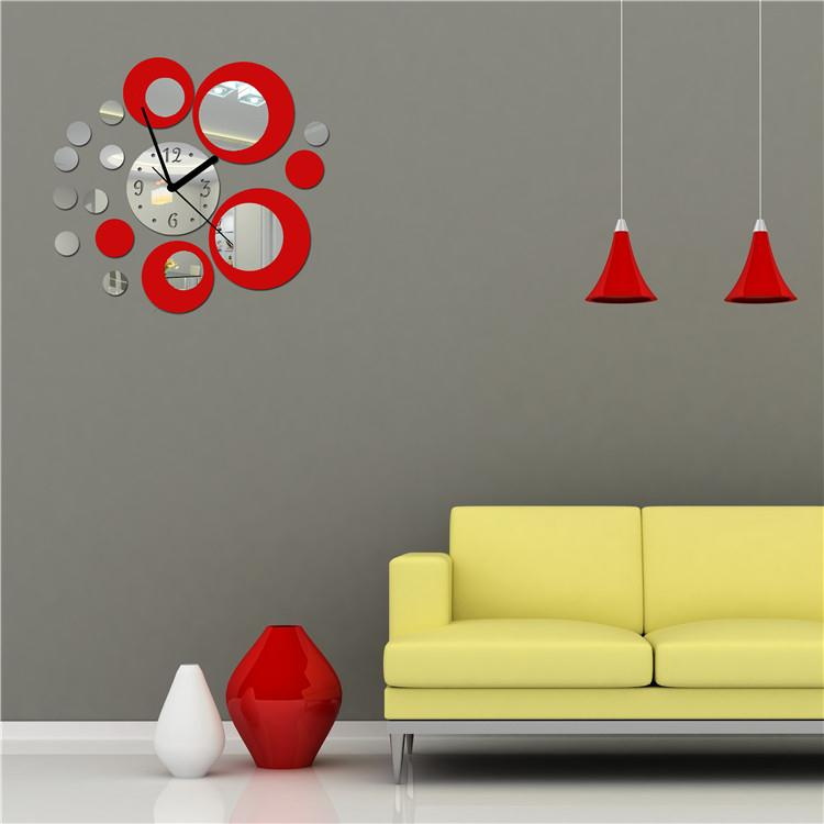 Removable acrylic clock circle design mirror effect mural - Reloj de pared moderno ...