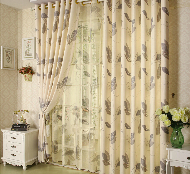 Hot sale linen curtains for living room leaves curtains for House windows for sale online