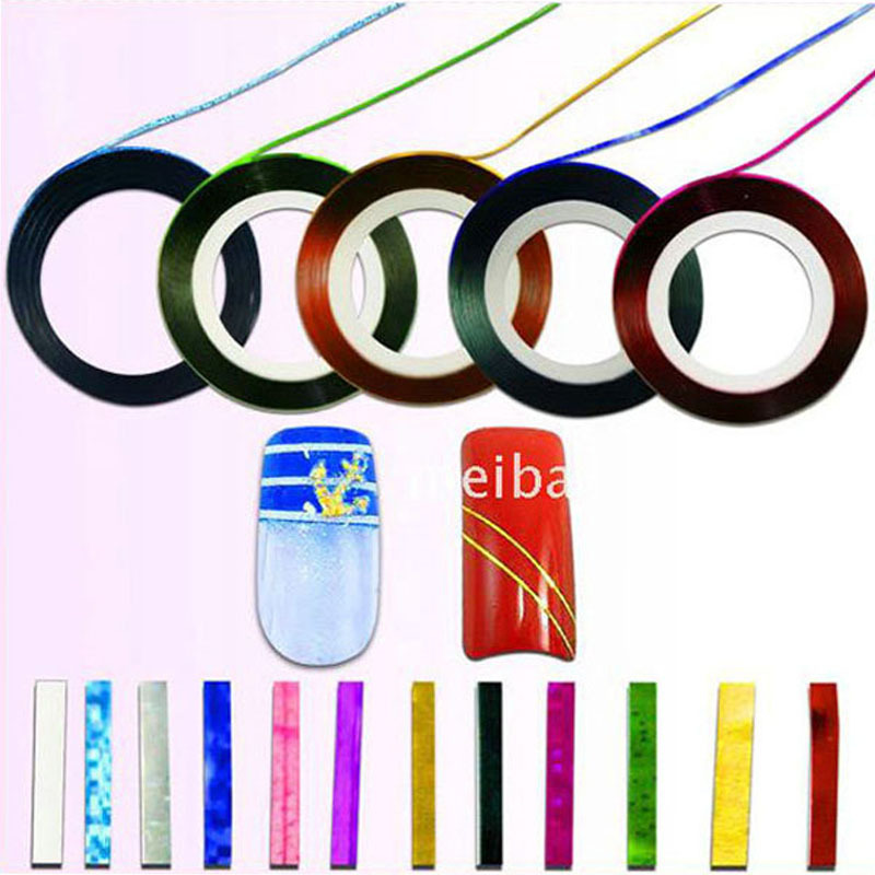 7pcs/pack 20mm Nail Art Strip Tape Line Tips Sticker Manicure Decal Paster Thin Roll Nail DIY Decoration 7 Different Colors(China (Mainland))