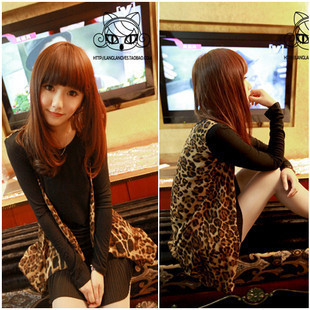 Mushroom women's 2012 new arrival spring fashion wind fashion stretch cotton chiffon leopard print t-shirt