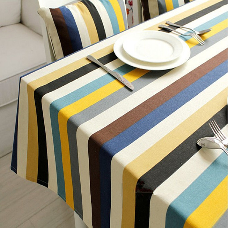 Mediterranean style colorful striped design waterproof home rectangle round linen table cloth covers for wedding(China (Mainland))
