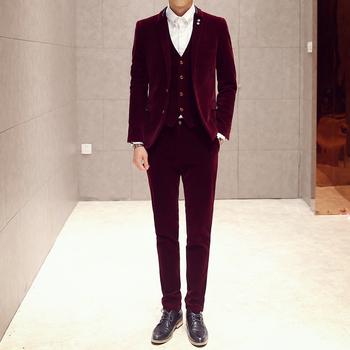 Осень и зима стиль британский стиль приталенный бизнес свободного покроя сплошной мужчины в длинный рукав костюм