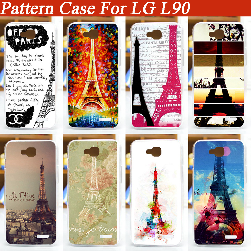 2015 New Arrival Fashion Eiffel Tower design Case For LG L90 pattern painted Hard Plastic Cover For LG L90 Back Cover(China (Mainland))