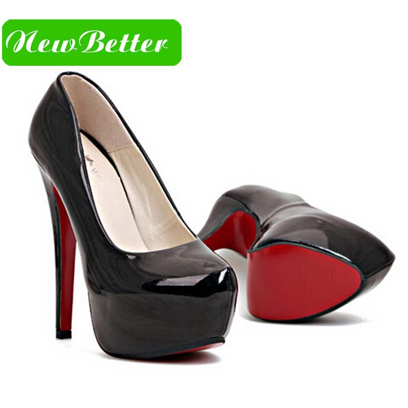 Red bottom high heels women pumps platform patent leather black red pink brand women shoes platform high heels(China (Mainland))
