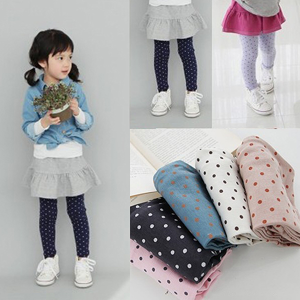 Fall Autumn Girls Toddlers Lovely Polka Dot Leggings Kids Cotton Pants Trousers