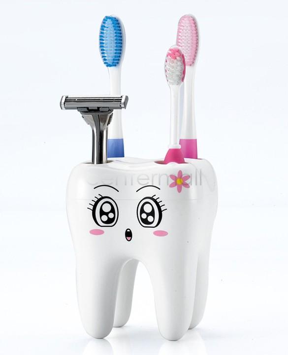 cute Brush Shelf 4 Hole Toothbrush Holder Cartoon Tooth Style Cartoon Holder Container for Bathroom White 18(China (Mainland))