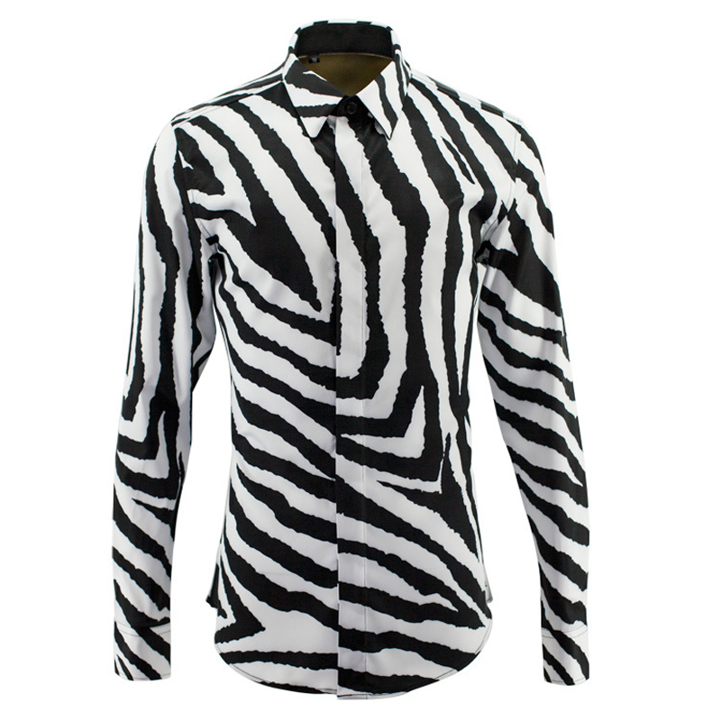 Online Get Cheap Long Sleeve Black & White Stripe Shirt Men ...