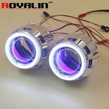 Buy ROYALIN 2.5 HID Bi Xenon H1 Projector Headlight Lens LHD RHD w/ 70mm COB Angel Eyes white Blue Red Devil Eyes H4 H7 Car DIY for $39.99 in AliExpress store