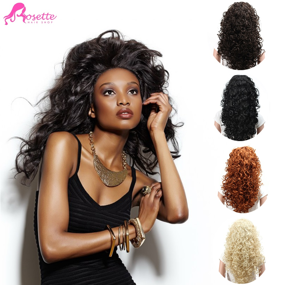 """Wig Heat Resistant Fake Hair Full Head wig for black women Synthetic Wigs 22"""" Long Hair Natural Curly Blonde(China (Mainland))"""