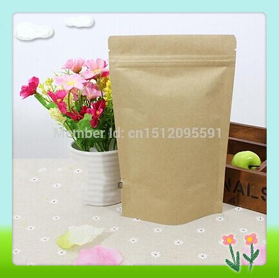 17CM*24CM,100pcs/lot,Zipper/zip lock Kraft paper bag kraft bag,gift/coffee/tea bag Snack/blank brown kraft bag without window(China (Mainland))