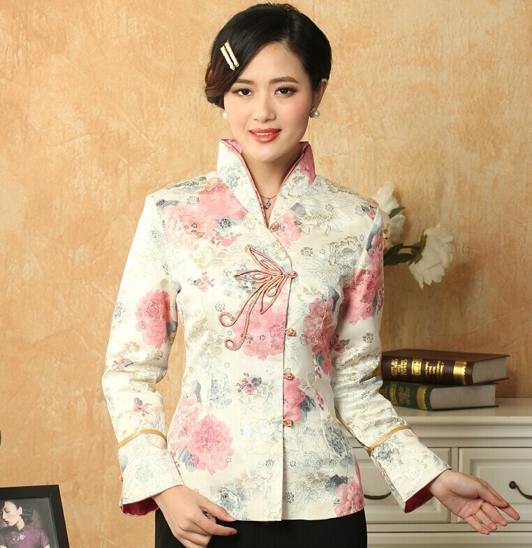 Hot Sale Multicolor Chinese Women's Satin Jacket Print Tang Suit Traditional Button Floral Coat Size S M L XL XXL XXXL T036(China (Mainland))