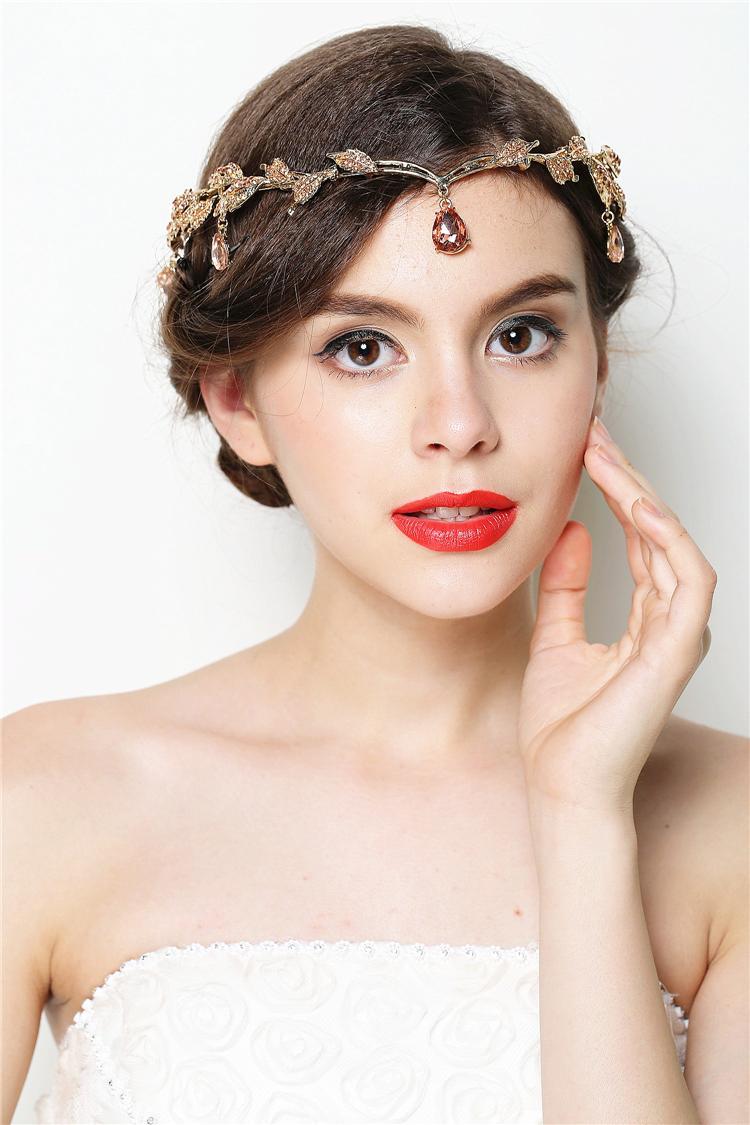 Gold Wedding Headband Head Chain Hair Jewelry Tiara Rhinestone Tiaras And Crowns Bridal Hair Accessorie Headpiece WIGO0391<br><br>Aliexpress