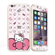 Glow in the dark luminous raised hellokitty Tempered Glass film Screen Protector+back cover for iPhone 6 case 6S 6 Plus 6splus