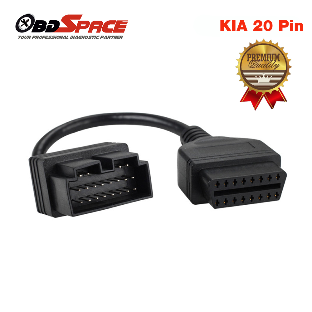 KIA 20 PIN Adapter to 16 PIN OBD2 Female Connector Diagnostic Tool Code Reader Adapter Cables For KIA 20Pin OBD to OBD2 16Pin(Hong Kong)