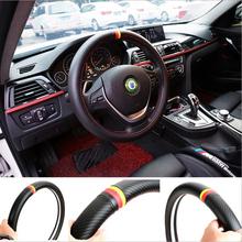 Steering Wheel Cover Car Styling German Flag Carbon Fiber Leather PU Volkswagen Skoda Golf 5 4 6 7 Polo Jetta Passat Audi - Elife Zone Co., Ltd store