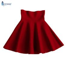 Buy Women's High Waist Skirt Skater Flared Pleated Stretch A-Line Short Mini Skirt for $5.71 in AliExpress store