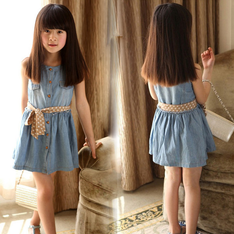 new 2016 girl dress with belt summer denim dress for girls brand kid girl jeans dress top quality children dresses free shipping