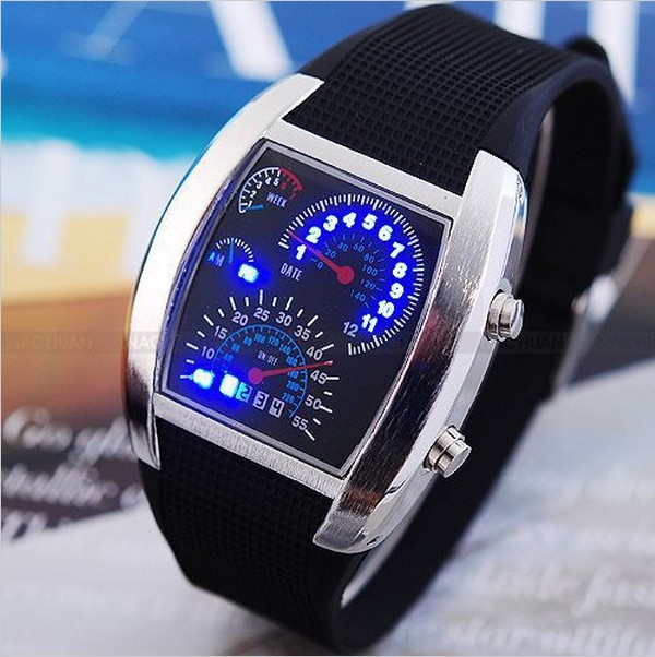 New Fashion Design Blue LED Light Aviation Sport Wrist Watch Dot Matrix Mens WATCH