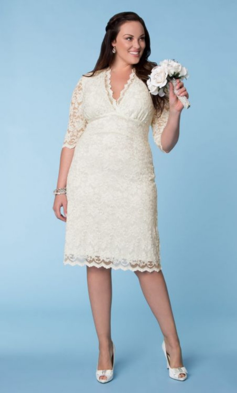 Turmec » wedding dress short white v neck