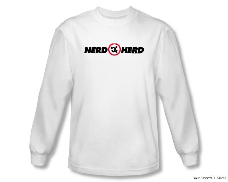 Officially Licensed Warner Bros Chuck Nerd Herd Long Sleeve Shirt S-3XL Free Shipping(China (Mainland))