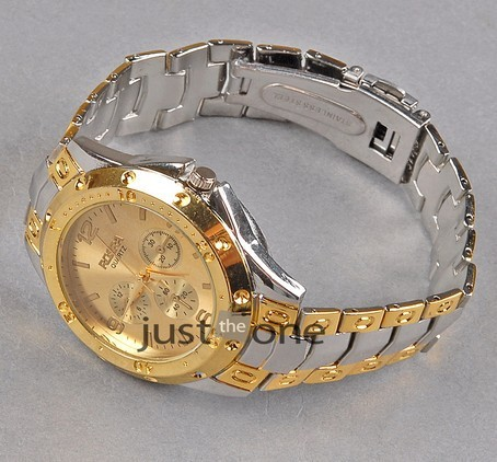 Wholesale 5pcs Men Gent Golden Face Stainless Metal and Steel Quartz Wrist Watch Brand New free shipping 131459
