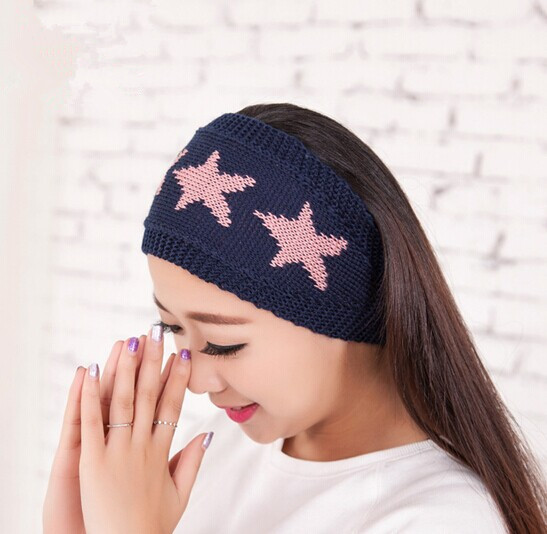 New Arriving Women Knitted Headband Crochet Stars Headband Knitted Hairband Winter Earmuffs Headwrap Chic Hair Accessories L05(China (Mainland))