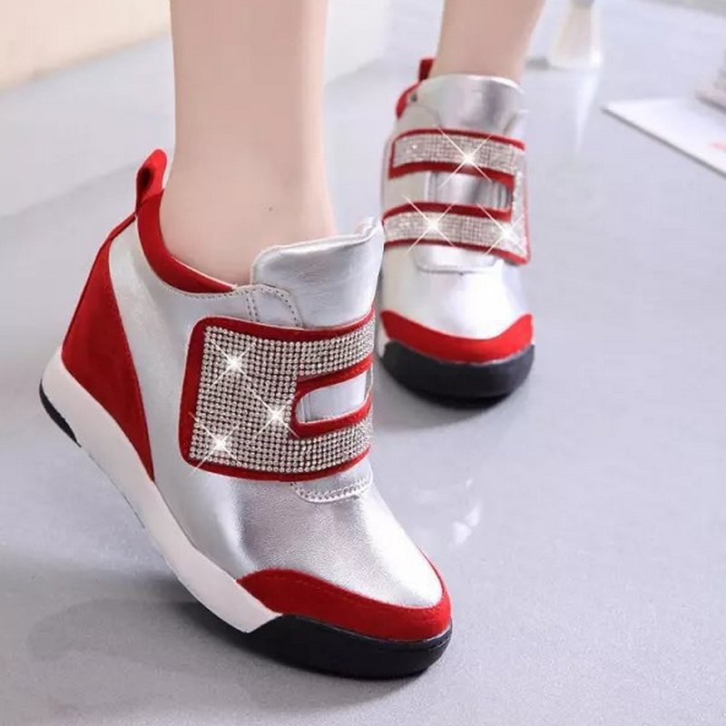 2015 Autumn and Winter Increased within women's sneakers high top Velcro single shoes fashion female sports shoes B1015(China (Mainland))