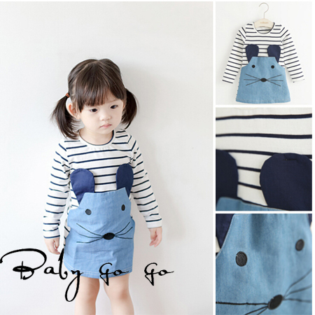 2015 Spring Fall girls striped dress, Baby lovely casual leisure dresses for kid girl. Long sleeve kids denim clothing(China (Mainland))