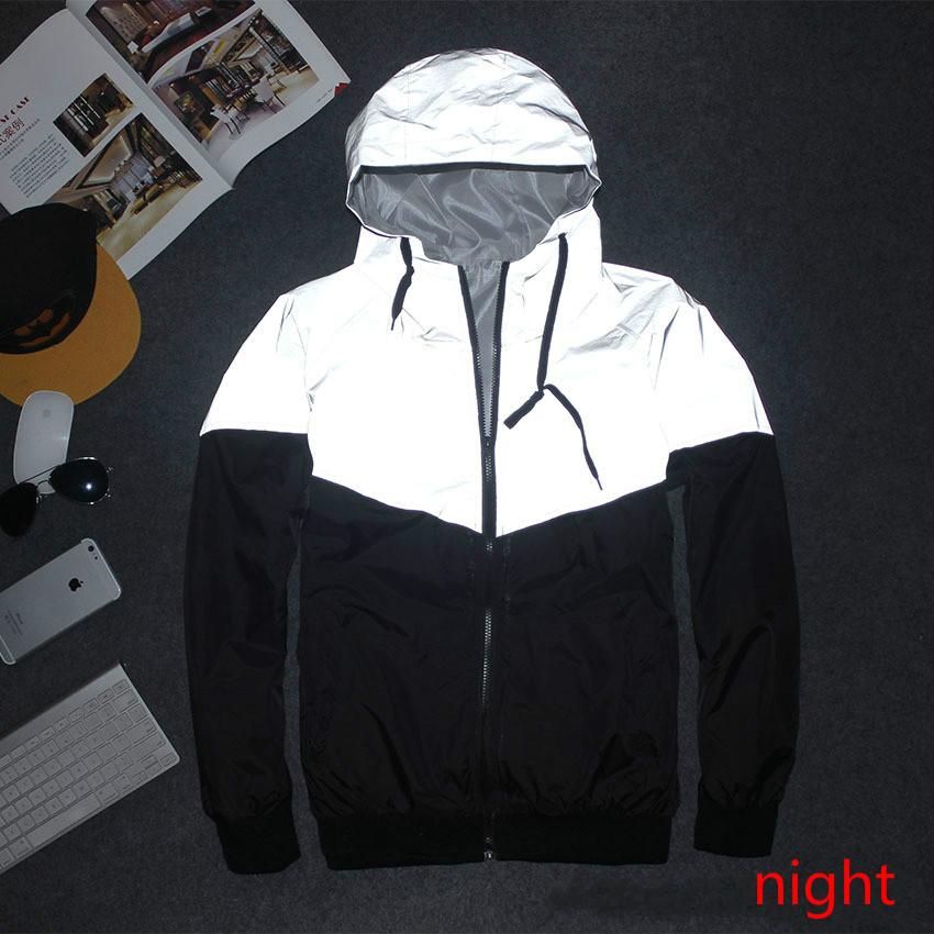 Men Jacket Autumn Patchwork Reflective 3m Jacket Sport Hip Hop Outdoor Waterproof Windbreaker Men Coat Trend Brand SMC0140-5