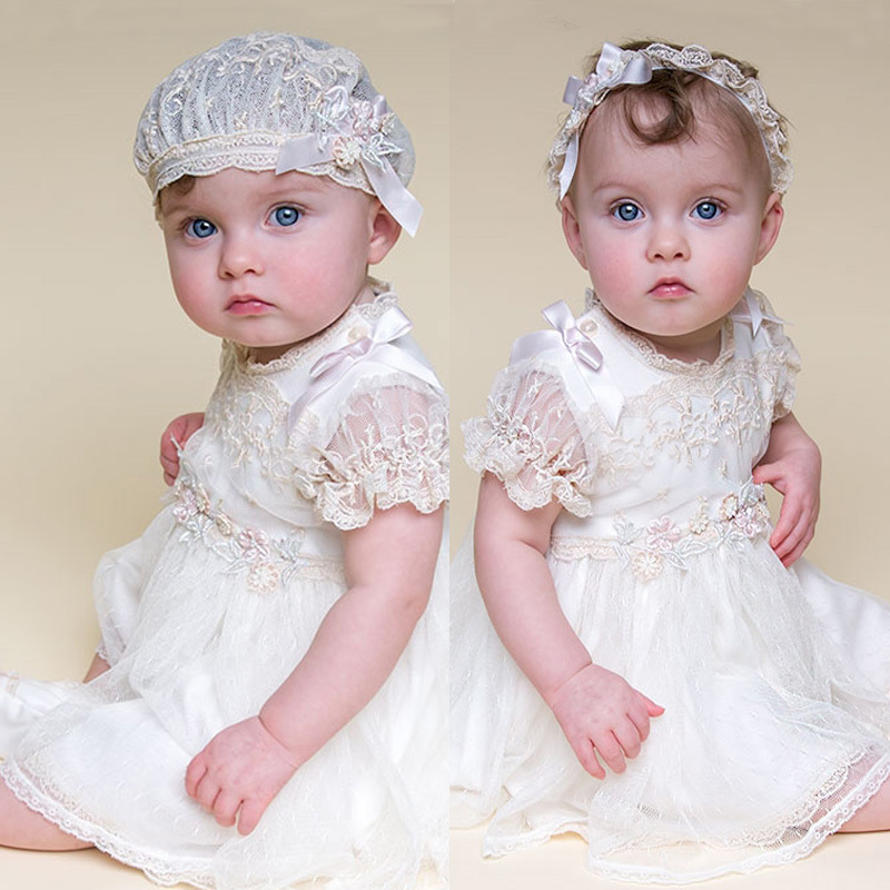 New and white knee length lace baby girls dress baby girl