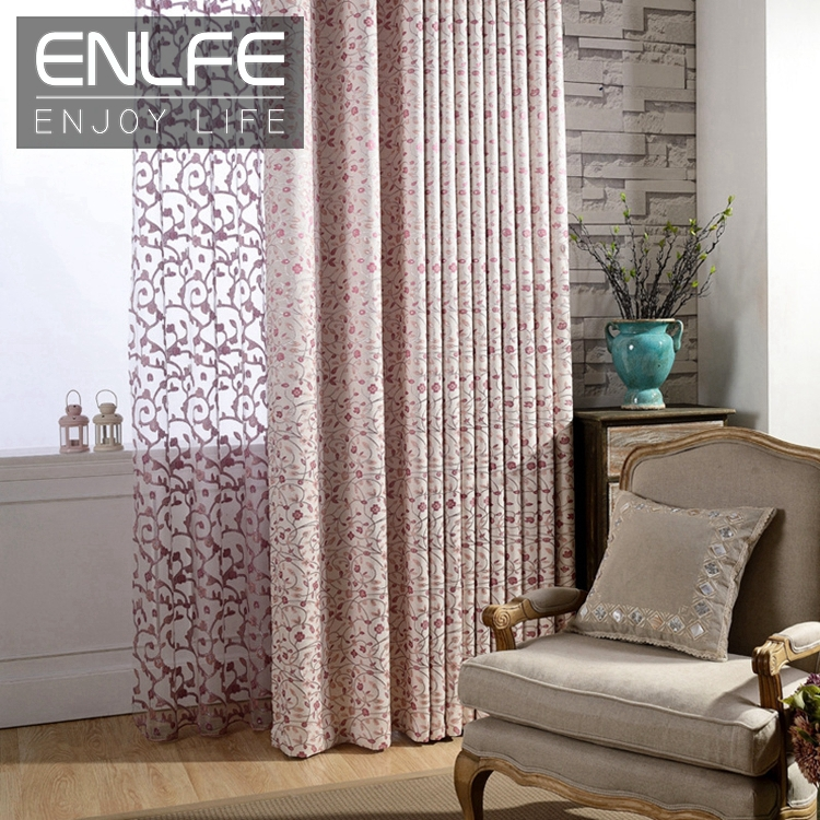 enlfe luxury living room jacquard sheer tulle curtains