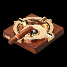 Square merbau wooden Cigar Ashtray with metal tray table ashtray father's Day gift(China (Mainland))