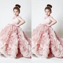 Rosa nuovo ragazze di fiore abiti 2015 abiti pageant per ragazze glitz dell'abito di sfera partito per la cerimonia nuziale vestidos de menina(China (Mainland))