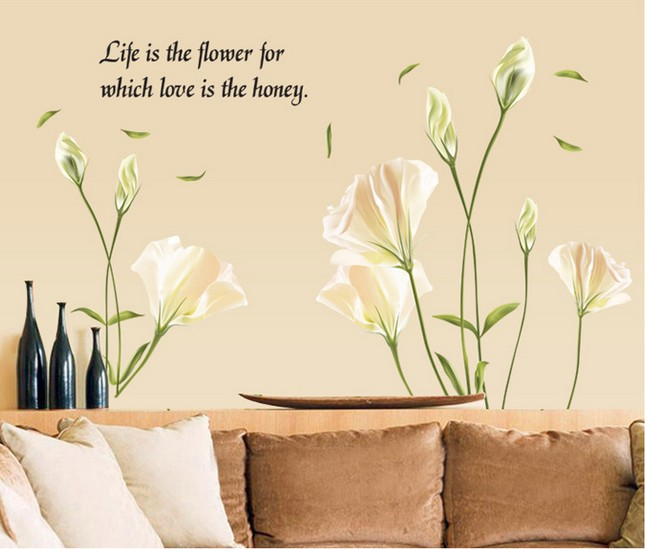 <font><b>Home</b></font> <font><b>Decor</b></font> Lily Wall Sticker <font><b>Elegant</b></font> Room Bedroom Sofa Background Decals AY9152