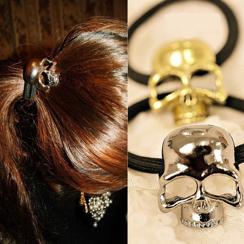 Women Metal Skull Candy Color Elastic Cheap girls head band hair ring rope Tie Ponytail holder hair accessory Ornament(China (Mainland))